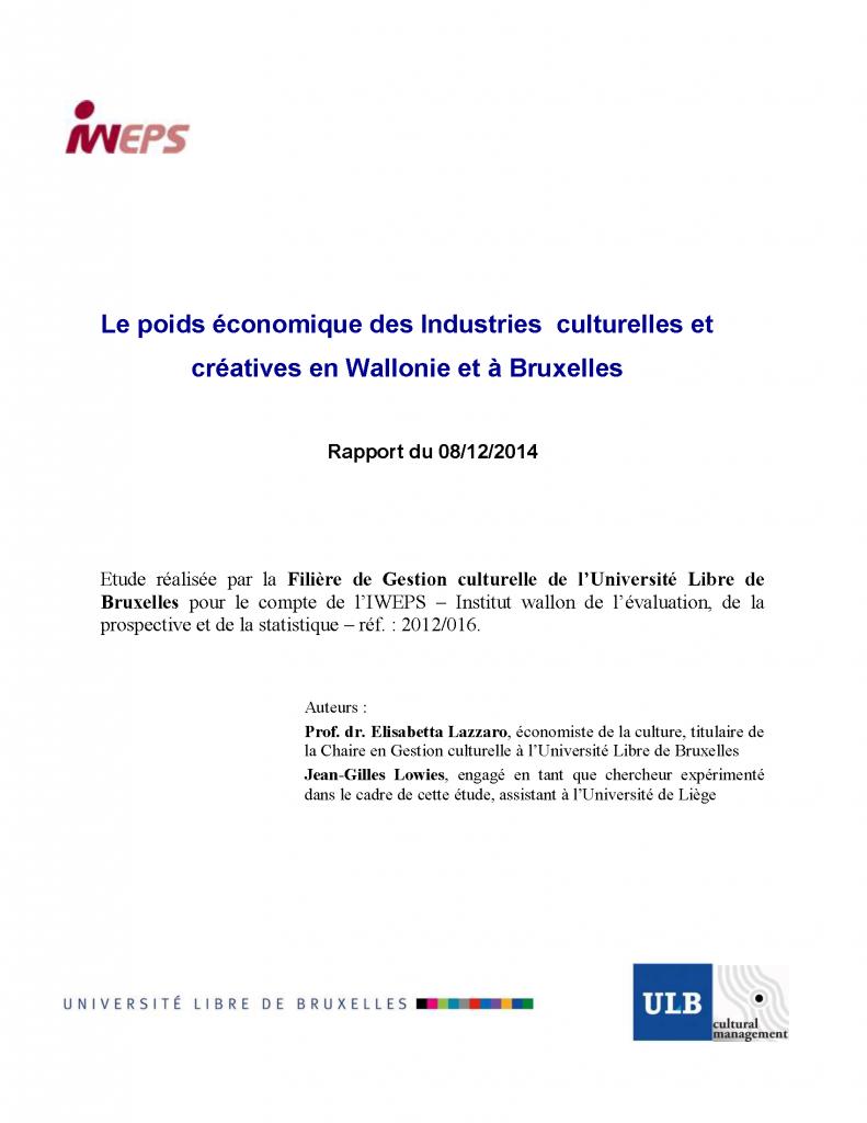 Les industries culturelles et créatives en Wallonie et à Bruxelles