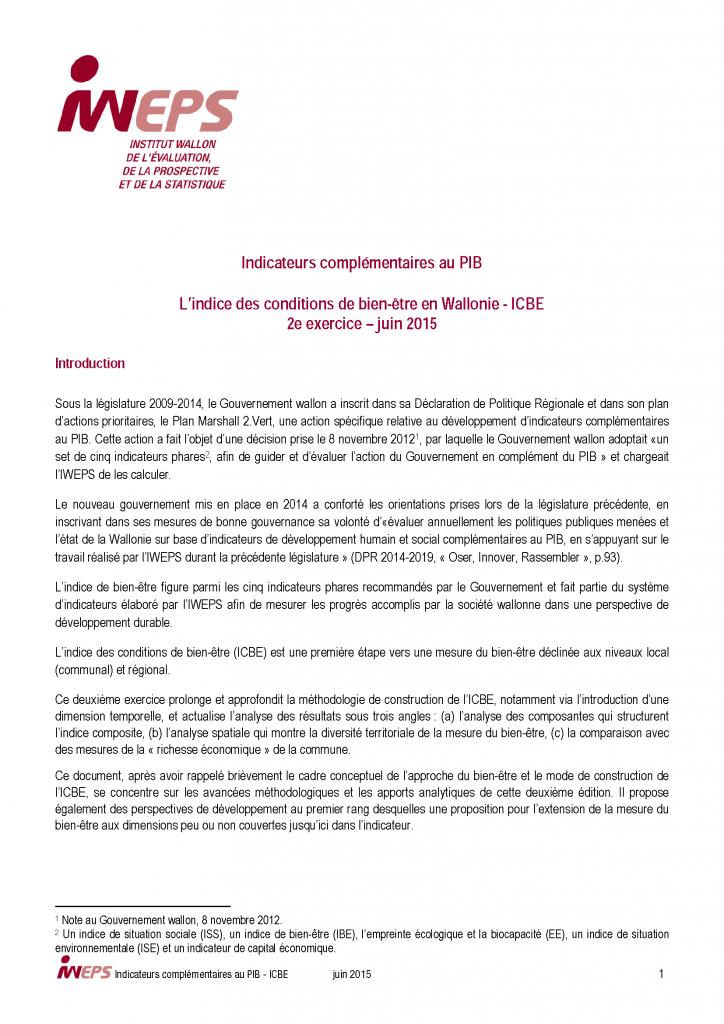 L'Indice des conditions de bien-être - 2015
