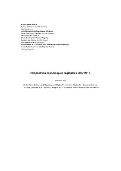 Perspectives économiques régionales 2007-2013