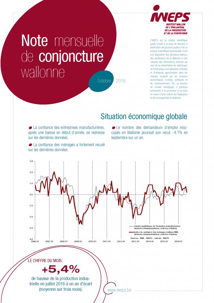 Cover Note mensuelle de conjoncture wallonne - Octobre 2016