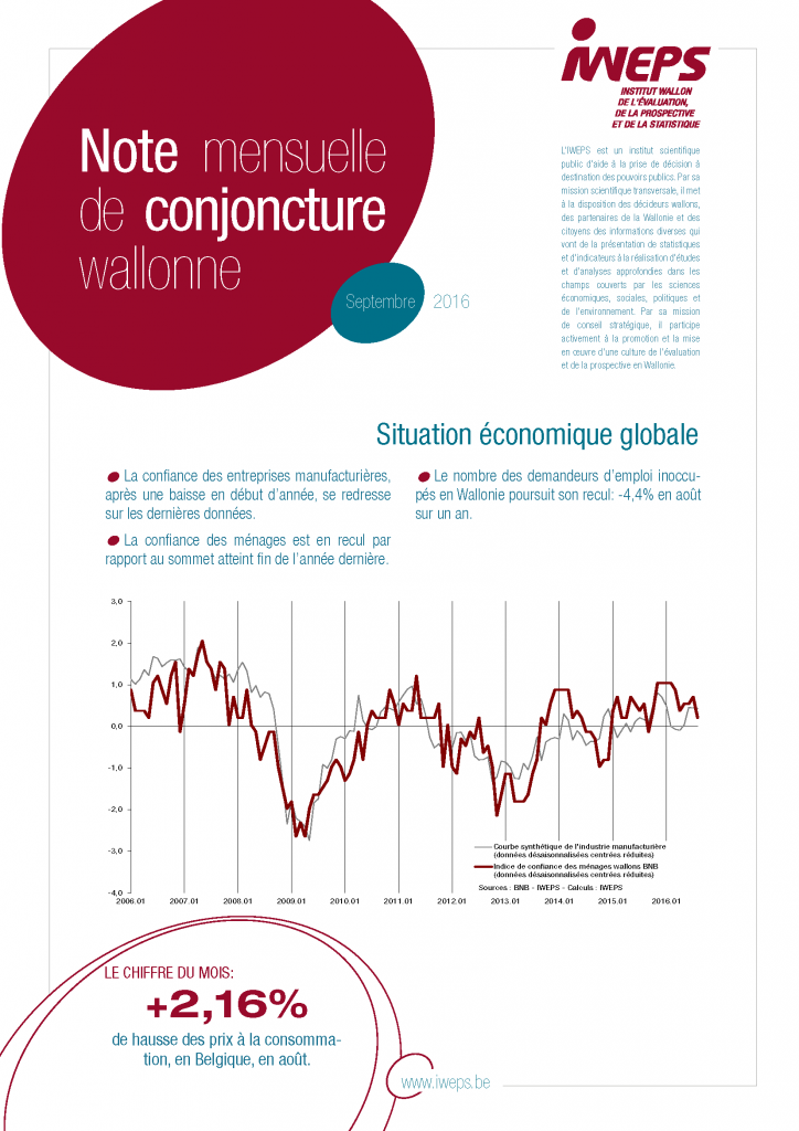 Note mensuelle de conjoncture wallonne - Septembre 2016