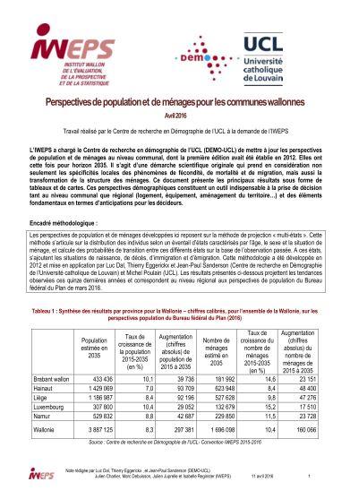 Perspectives de population et de ménages pour les communes wallonnes