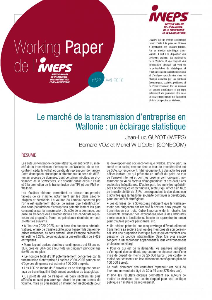 Le marché de la transmission d'entreprise en Wallonie : un éclairage statistique