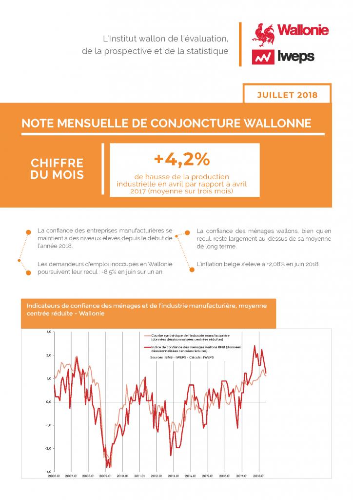 Note mensuelle de conjoncture wallonne - Juillet 2018