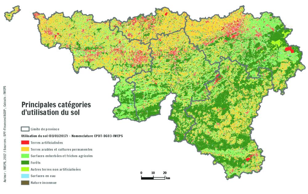 Carte De La Wallonie Belgique.Utilisation Du Sol En Wallonie Iweps
