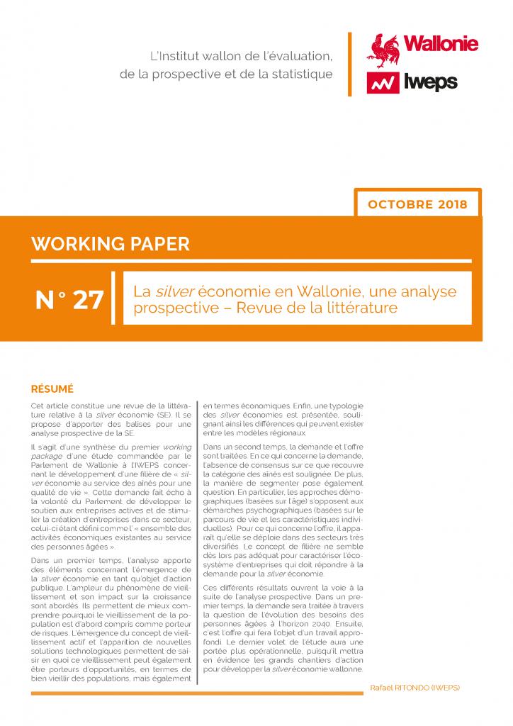 La silver économie en Wallonie, une analyse prospective - Revue de la littérature