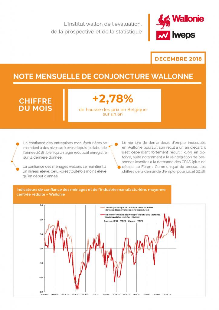 Note mensuelle de conjoncture wallonne - Décembre 2018
