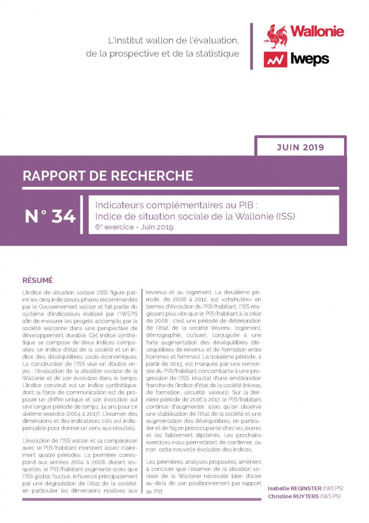 Indicateurs complémentaires au PIB : Indice de situation sociale de la Wallonie (ISS) 6e exercice - Juin 2019