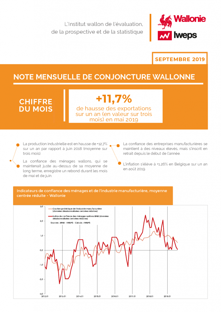 Note mensuelle de conjoncture wallonne - Septembre 2019