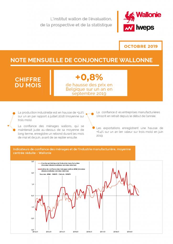 Note mensuelle de conjoncture wallonne - Octobre 2019