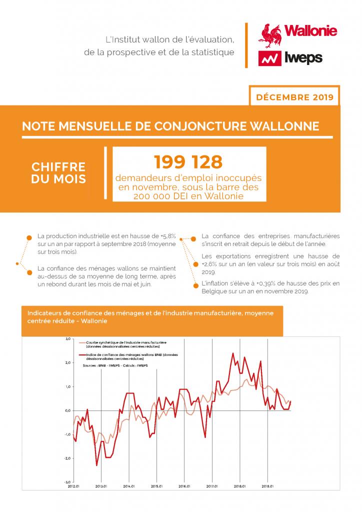 Note mensuelle de conjoncture wallonne - Décembre 2019