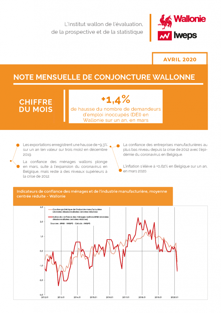 Note mensuelle de conjoncture wallonne - Avril 2020