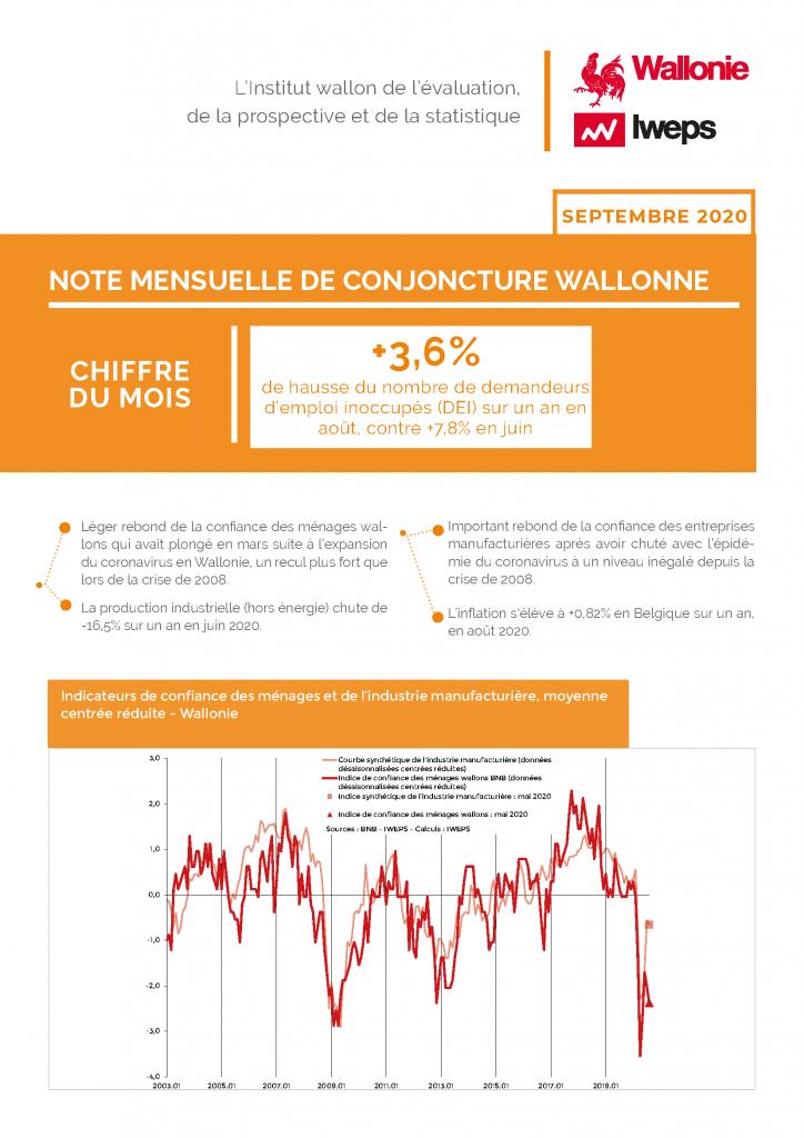 Note mensuelle de conjoncture wallonne - Septembre 2020