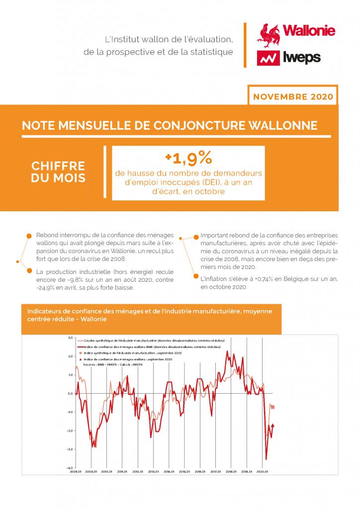 Note mensuelle de conjoncture wallonne - Novembre 2020