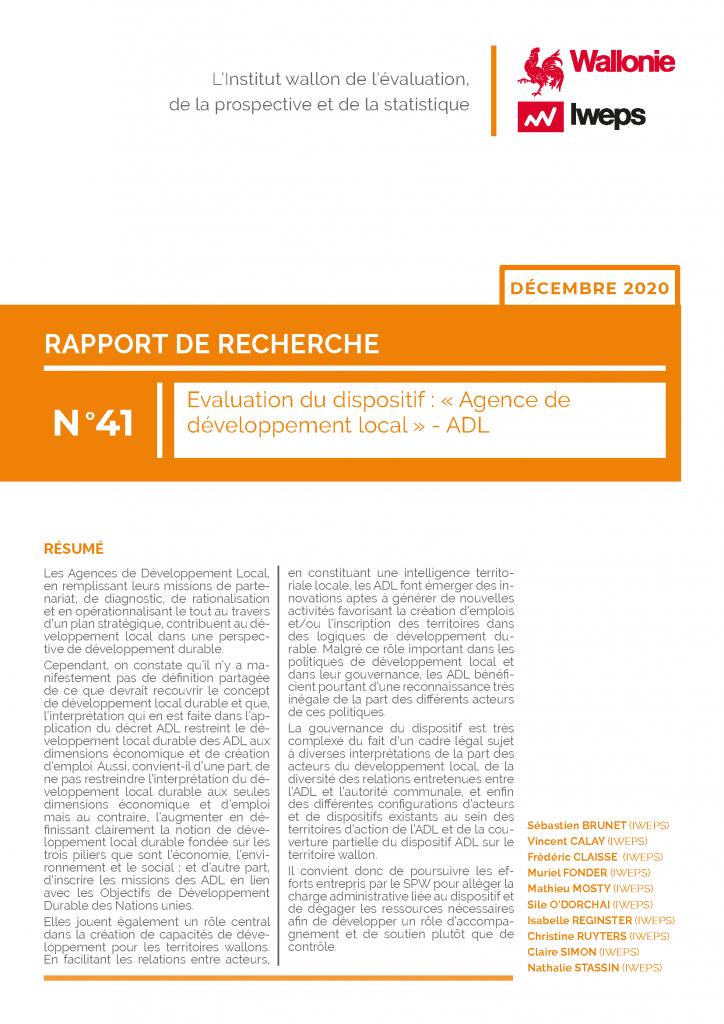 Evaluation du dispositif : « Agence de développement local » - ADL