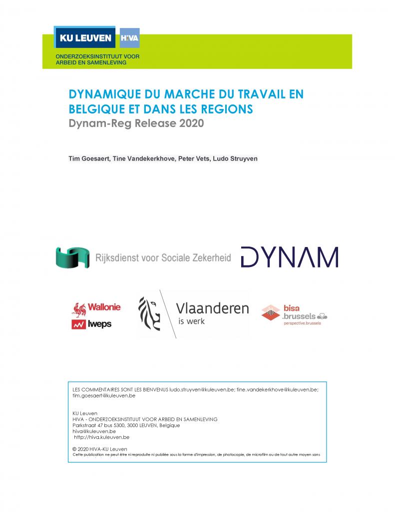 Dynamique du marché du travail en Belgique et dans les régions - Dynam-Reg Release 2020