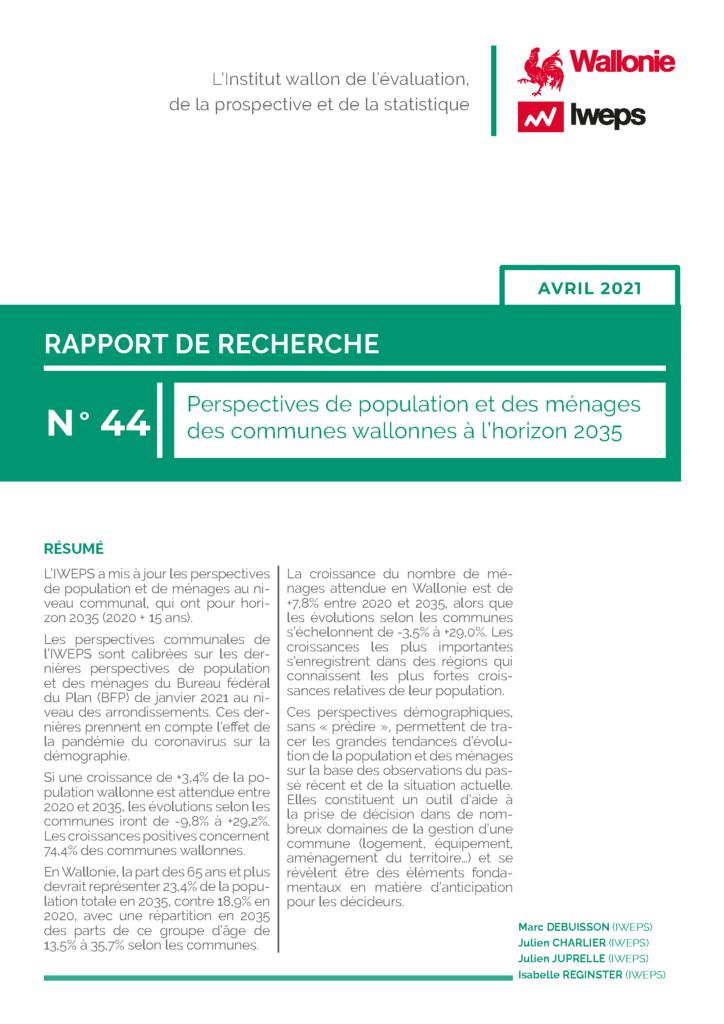 Perspectives de population et des ménages des communes wallonnes à l'horizon 2035