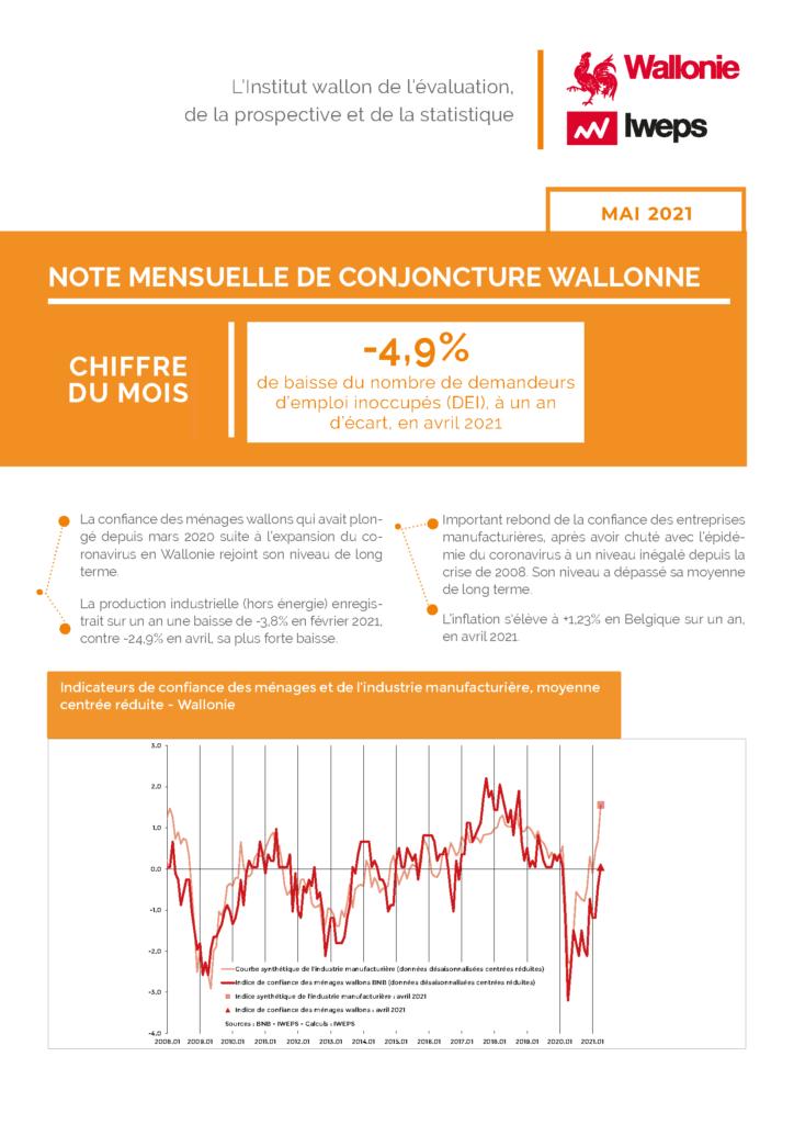 Note mensuelle de conjoncture wallonne - Mai 2021