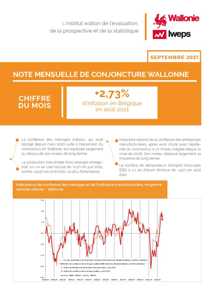 Note mensuelle de conjoncture wallonne - Septembre 2021