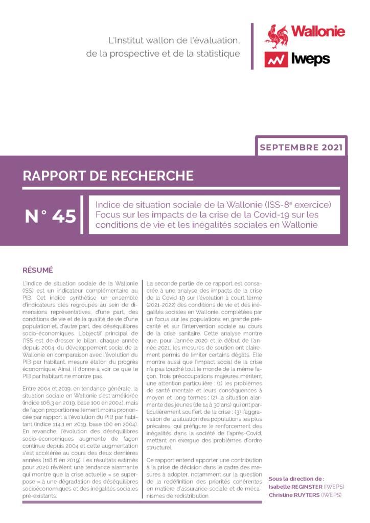 Indice de situation sociale de la Wallonie (ISS-8e exercice) - Focus sur les impacts de la crise de la Covid-19 sur les conditions de vie et les inégalités sociales en Wallonie